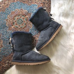 ugg bailey striped bow boots blue suede sheep fur